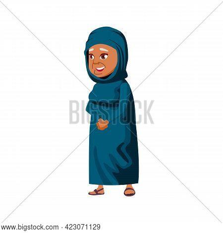Muslim Lady Senior Talking With Friends In Retirement Home Cartoon Vector. Muslim Lady Senior Talkin