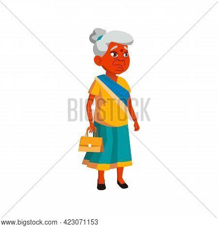 Indian Elderly Lady Waiting Bus Cartoon Vector. Indian Elderly Lady Waiting Bus Character. Isolated