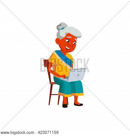 Smiling Indian Woman Senior Watching Photography On Notebook Cartoon Vector. Smiling Indian Woman Se