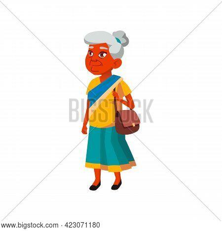 Indian Retired Woman Walking On Historical Street Cartoon Vector. Indian Retired Woman Walking On Hi