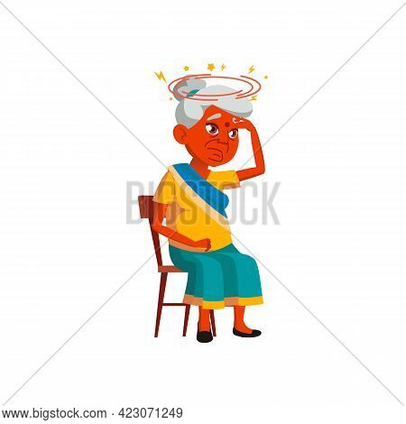 Sad Indian Elderly Woman With Giddiness Sitting On Chair Cartoon Vector. Sad Indian Elderly Woman Wi