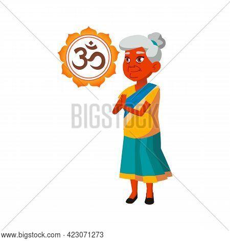 Old Indian Woman Meditating At Home Cartoon Vector. Old Indian Woman Meditating At Home Character. I