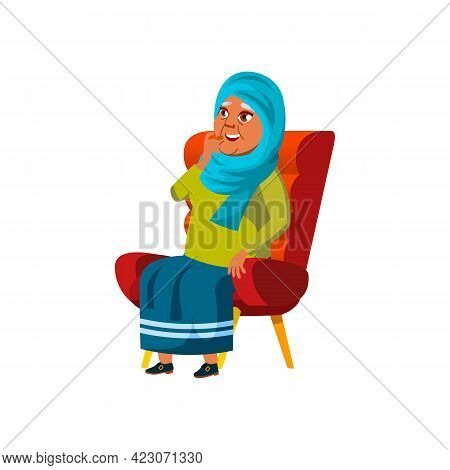 Arab Old Woman Sitting In Armchair And Watch Funny Movie On Tv Cartoon Vector. Arab Old Woman Sittin
