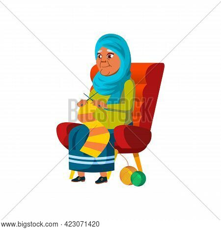 Muslim Old Lady Knitting Scarf In Living Room Cartoon Vector. Muslim Old Lady Knitting Scarf In Livi
