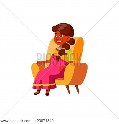 Indian Old Woman Relaxing In Living Room Armchair Cartoon Vector. Indian Old Woman Relaxing In Livin