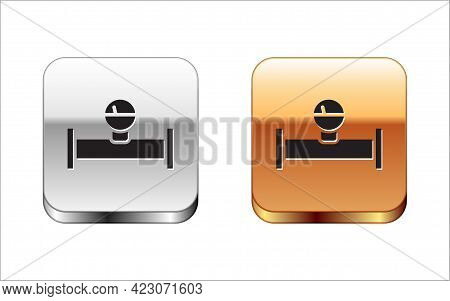 Black Industry Metallic Pipe And Manometer Icon Isolated On White Background. Silver-gold Square But