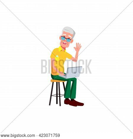 Happy Mature Age Man Using Laptop For Communication With Children Cartoon Vector. Happy Mature Age M