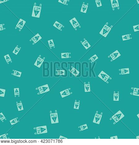 Green Wet Floor And Cleaning In Progress Icon Isolated Seamless Pattern On Green Background. Cleanin