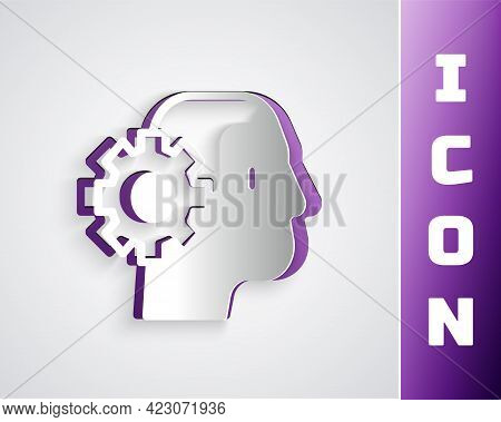 Paper Cut Humanoid Robot Icon Isolated On Grey Background. Artificial Intelligence, Machine Learning