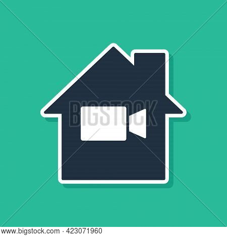 Blue Video Camera Off In Home Icon Isolated On Green Background. No Video. Vector