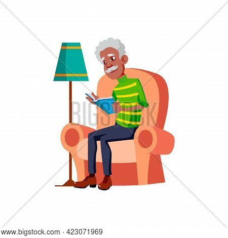 African Man Pensioner Reading Book In Living Room Cartoon Vector. African Man Pensioner Reading Book