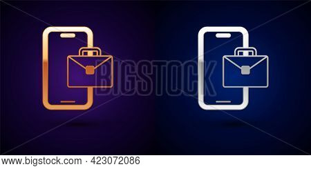 Gold And Silver Freelancer Icon Isolated On Black Background. Freelancer Man Working On Laptop At Hi