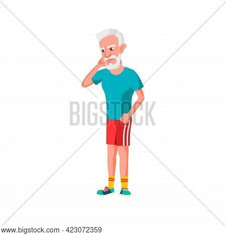 Sad Man Pensioner Has Toothache Cartoon Vector. Sad Man Pensioner Has Toothache Character. Isolated
