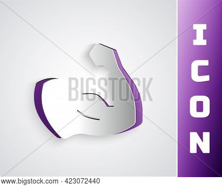 Paper Cut Bodybuilder Showing His Muscles Icon Isolated On Grey Background. Fit Fitness Strength Hea