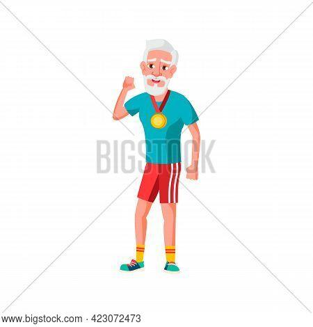 Man Senior Celebrate Victory In Sport Competition Cartoon Vector. Man Senior Celebrate Victory In Sp