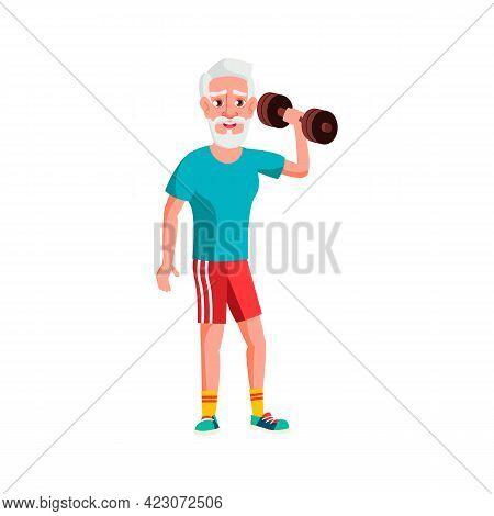 Elderly Sportsman Training With Dumbbells In Gym Cartoon Vector. Elderly Sportsman Training With Dum