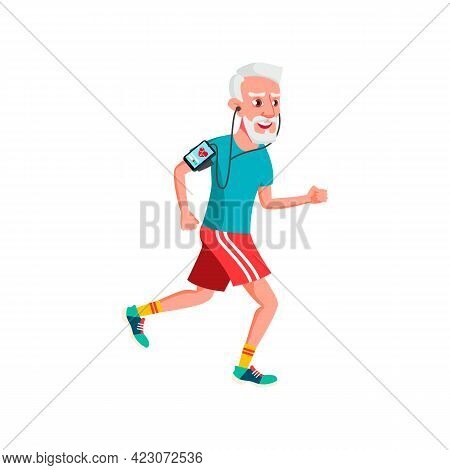 Old Man Running And Checking Heartbeat With Device Cartoon Vector. Old Man Running And Checking Hear
