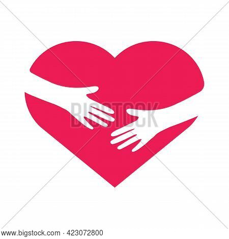 Hand Embracing Heart. Love Yourself Concept. Volunteer Support Flat Sign. Illustration.