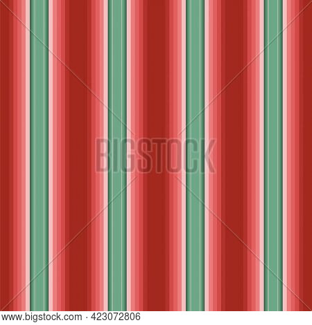 Mexican Stripe Pattern. Serape Vector Background. Seamless Mexican Rug Pattern In Red And Turquoise