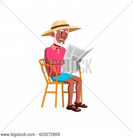 Smiling Elderly Man Reading Newspaper Outdoor Cartoon Vector. Smiling Elderly Man Reading Newspaper