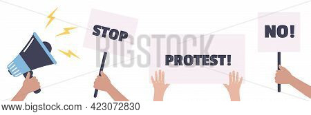 Protest. Protesters Holding Banners And Placards. Activists With Vote Signs. Illustration.