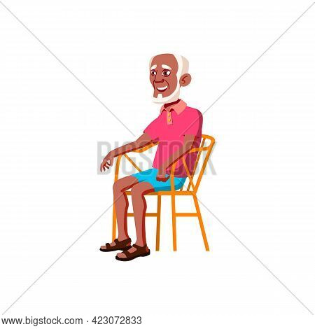 Aged African Man Resting On Cafe Terrace Cartoon Vector. Aged African Man Resting On Cafe Terrace Ch