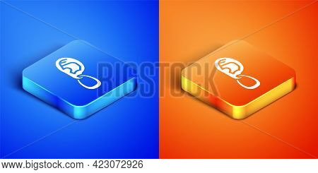 Isometric Ear With Earring Icon Isolated On Blue And Orange Background. Piercing. Auricle. Organ Of