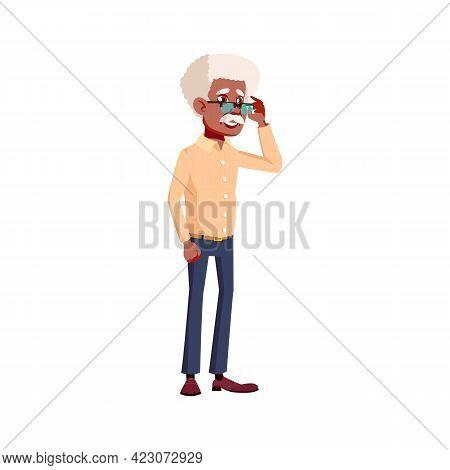 Smart Elderly Man Thinking About Problem Cartoon Vector. Smart Elderly Man Thinking About Problem Ch