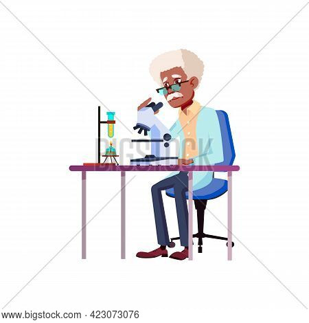 Old Man Scientist Making Chemical Experiment And Checking Result In Microscope Cartoon Vector. Old M