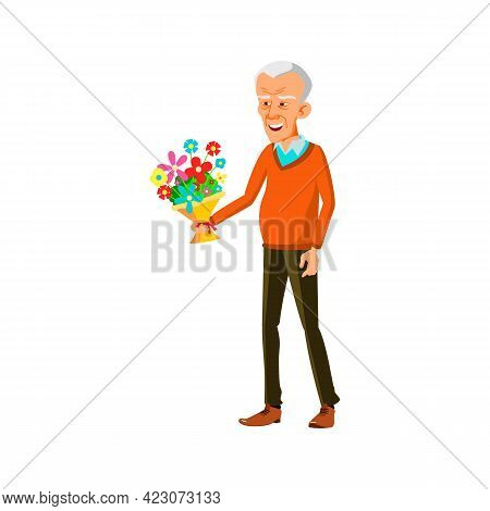 Smiling Old Man Present Flowers Gift To Lady On Date Cartoon Vector. Smiling Old Man Present Flowers