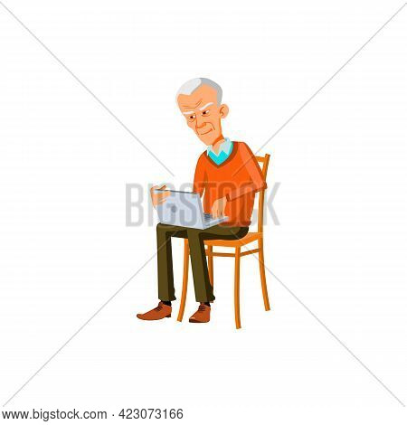 Elderly Caucasian Man Searching Information On Notebook Cartoon Vector. Elderly Caucasian Man Search