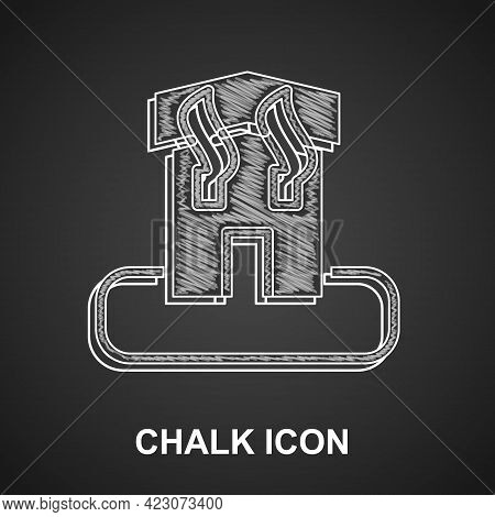 Chalk Arson Home Icon Isolated On Black Background. Fire In Building. Flames From Office Windows. Bu