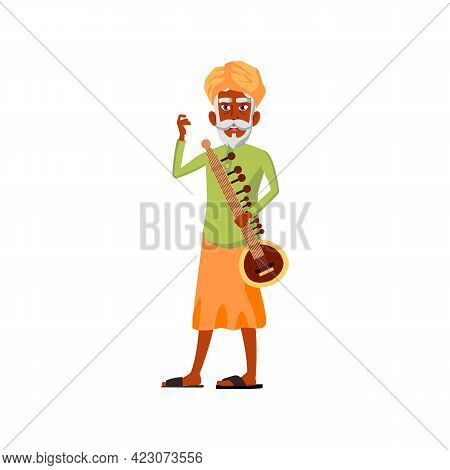 Aged Indian Man With Sitar On Concert Cartoon Vector. Aged Indian Man With Sitar On Concert Characte
