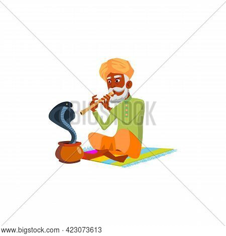 Snake Charmer Old Man Playing On Flute Cartoon Vector. Snake Charmer Old Man Playing On Flute Charac
