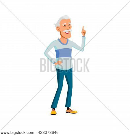 Japanese Old Man Remember Funny Story Cartoon Vector. Japanese Old Man Remember Funny Story Characte