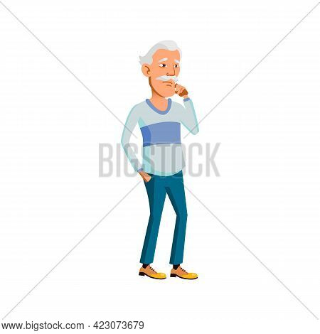 Asian Elderly Man Thinking About Problem Cartoon Vector. Asian Elderly Man Thinking About Problem Ch
