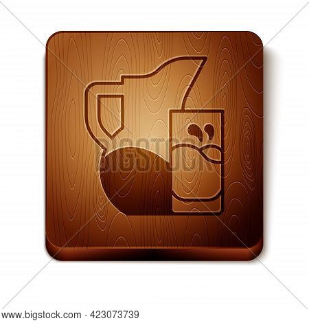 Brown Milk Jug Or Pitcher And Glass Icon Isolated On White Background. Wooden Square Button. Vector