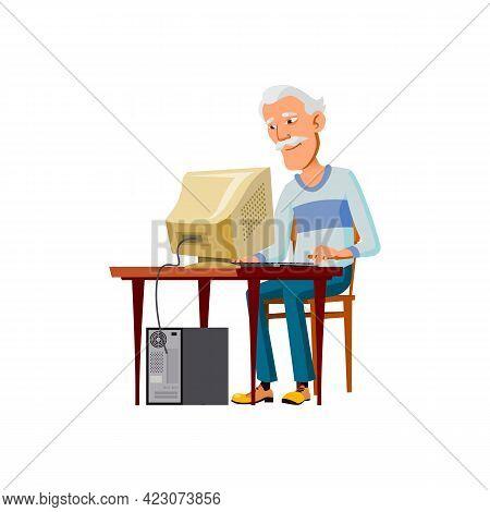 Asian Elderly Man Searching Information In Internet On Computer Cartoon Vector. Asian Elderly Man Se
