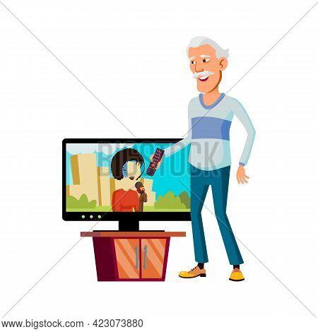 Korean Old Man Watching News On Tv Cartoon Vector. Korean Old Man Watching News On Tv Character. Iso