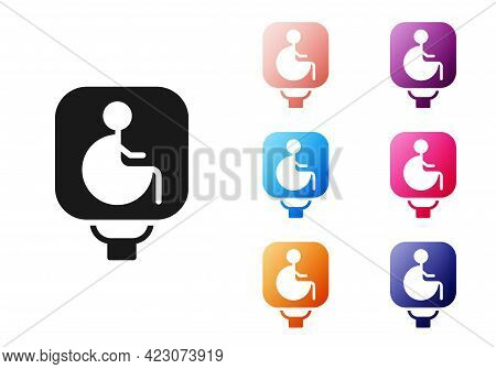 Black Disabled Wheelchair Icon Isolated On White Background. Disabled Handicap Sign. Set Icons Color
