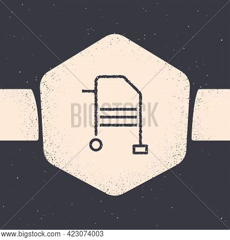 Grunge Walker For Disabled Person Icon Isolated On Grey Background. Monochrome Vintage Drawing. Vect