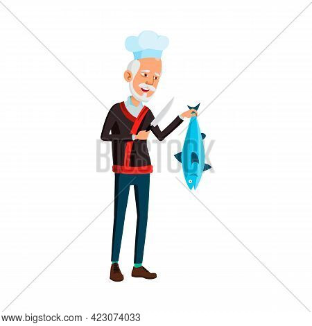 Korean Aged Man Cook Chef Holding Knife And Fish In Kitchen Cartoon Vector. Korean Aged Man Cook Che