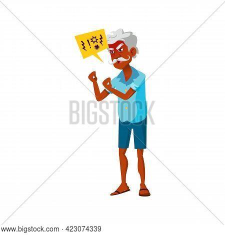 Crazy Mature Age Man Angry Shouting At Enemy Cartoon Vector. Crazy Mature Age Man Angry Shouting At