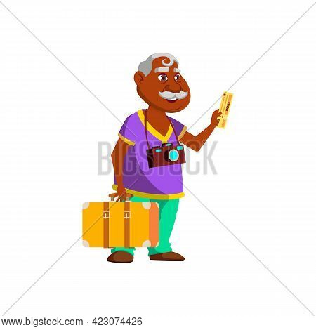 Elderly Man Tourist With Photo Camera And Luggage Showing Fly Ticket In Airport Cartoon Vector. Elde
