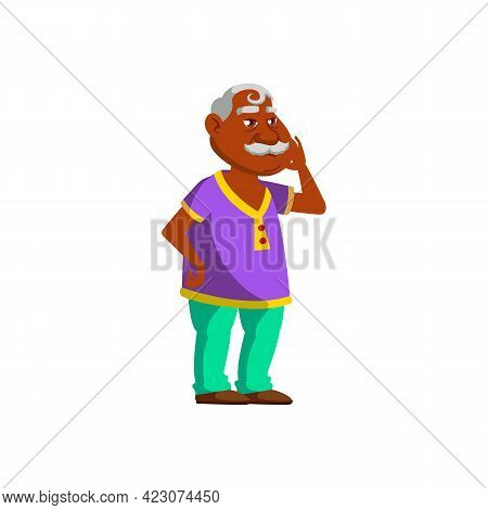 Old Fat Man With Toothache In Dentist Clinic Cartoon Vector. Old Fat Man With Toothache In Dentist C