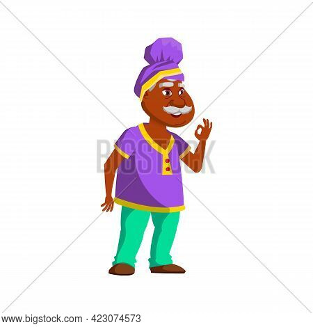 Happy Indian Mature Age Man Approving Friend Choice On Market Cartoon Vector. Happy Indian Mature Ag