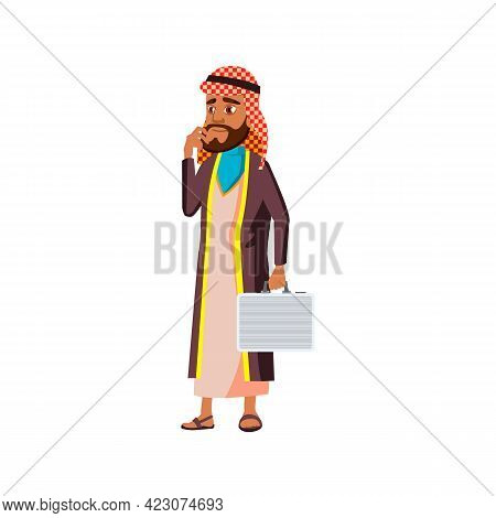 Muslim Businessman With Case In Company Office Cartoon Vector. Muslim Businessman With Case In Compa