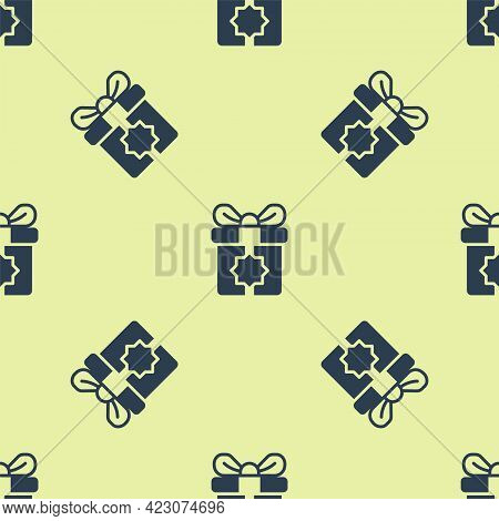 Blue Gift Box Icon Isolated Seamless Pattern On Yellow Background. Holy Month, Ramadan, Christmas Pr