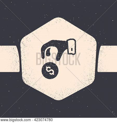 Grunge Donate Or Pay Your Zakat As Muslim Obligatory Icon Isolated On Grey Background. Muslim Charit