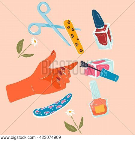 Nail Art Or Manicure Items Set For Nail Studio And Hands Care Products, Flat Vector Illustration Iso